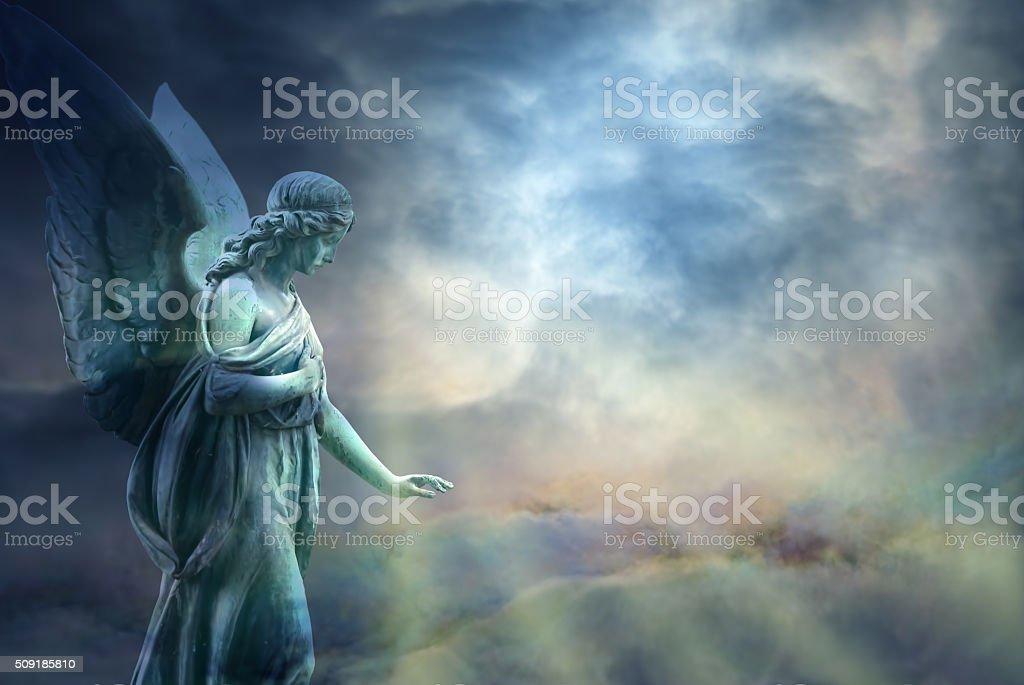 Beautiful angel in heaven stock photo