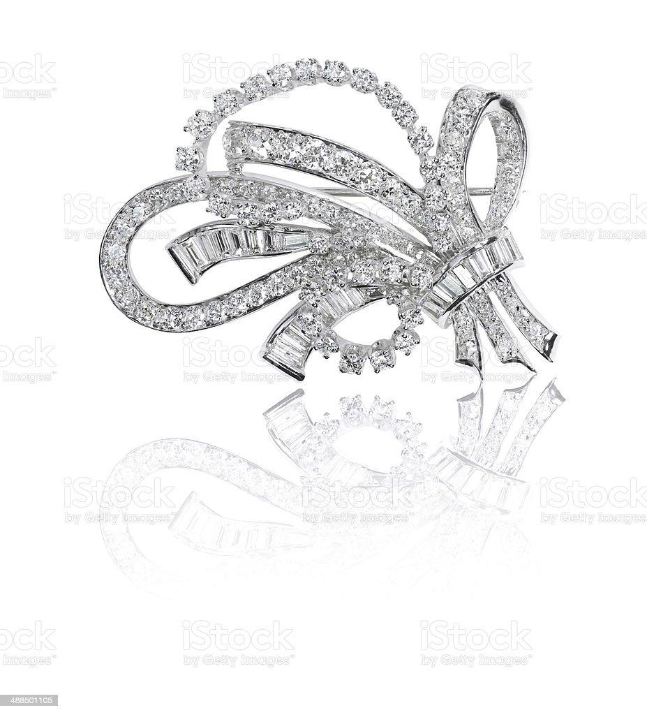 Beautiful antique diamond brooch stock photo
