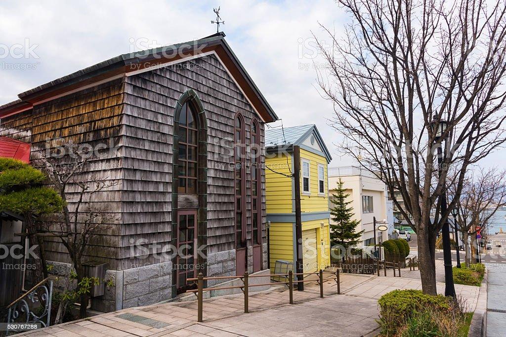 Beautiful antique houses at Motomachi slope, Hakodate stock photo