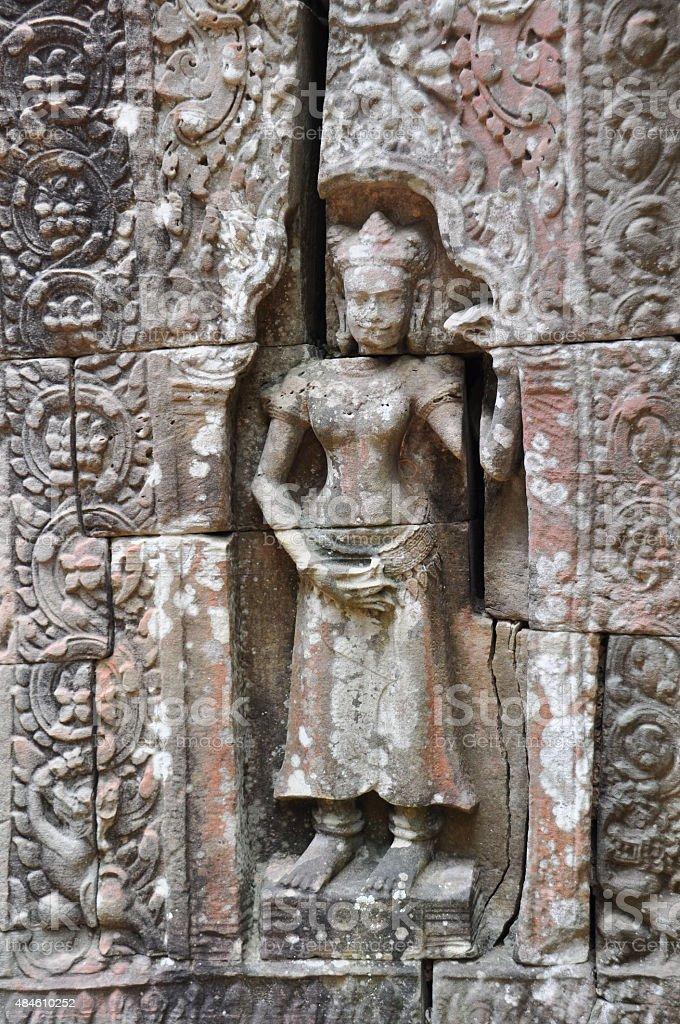 Beautiful apsara of Ta Som Temple in Cambodia stock photo