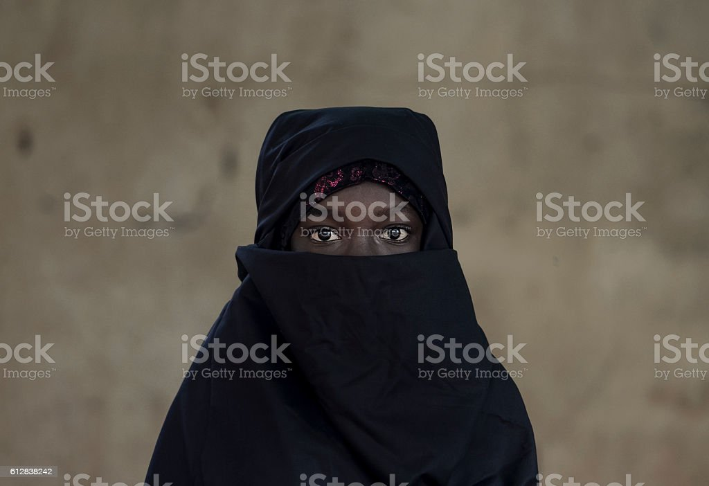 Beautiful Arab African Girl Veiled with a Niqab Bamako, Mali stock photo