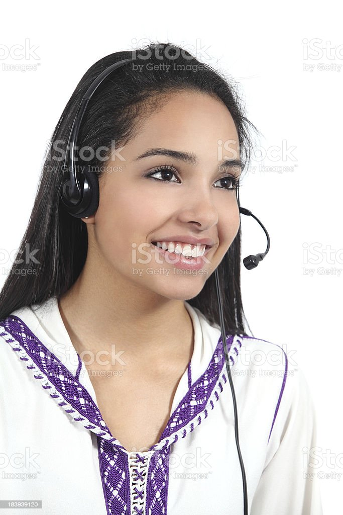 Beautiful arab worker woman working as phone operator royalty-free stock photo