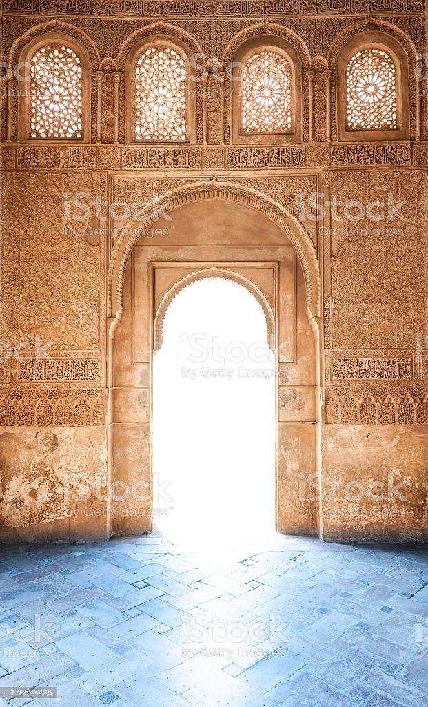A beautiful Arabesque door of Granada palace in Spain stock photo