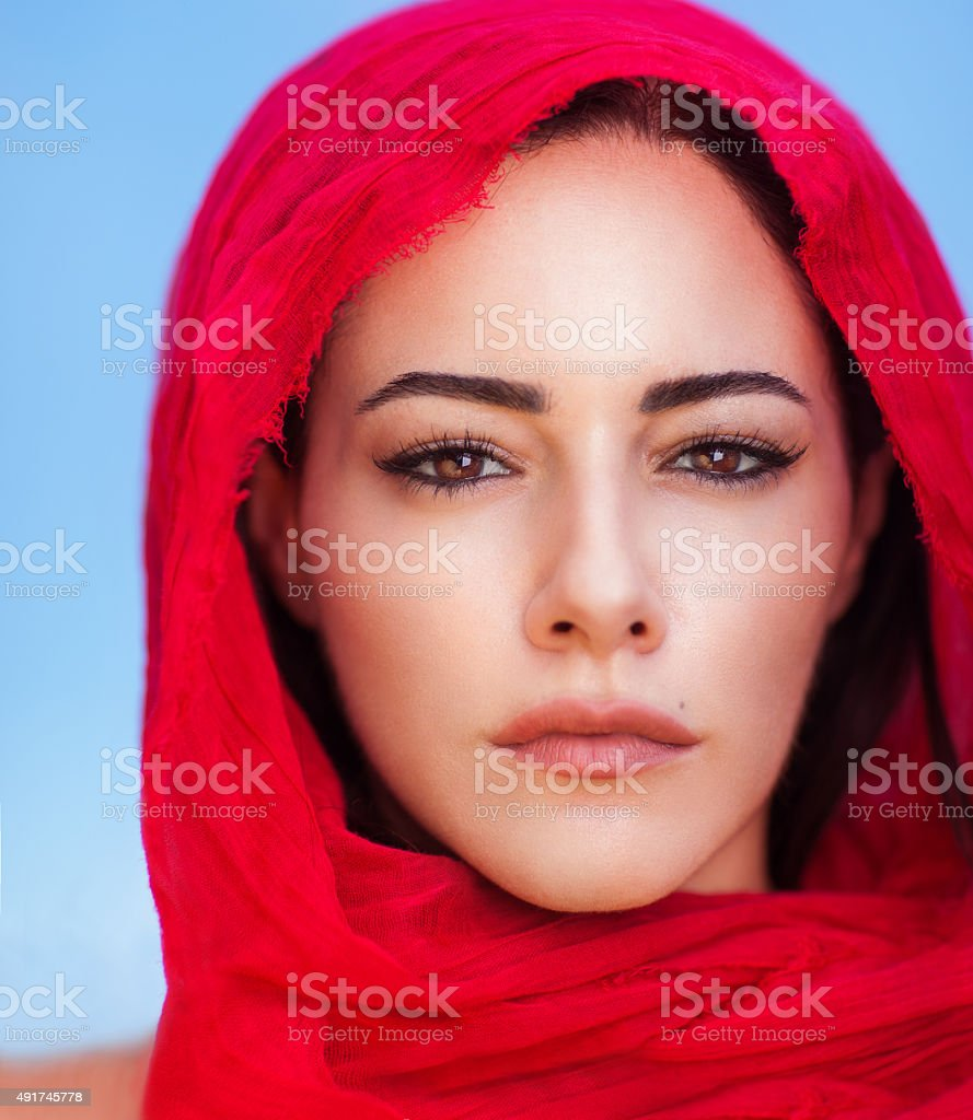 Beautiful arabic woman portrait stock photo