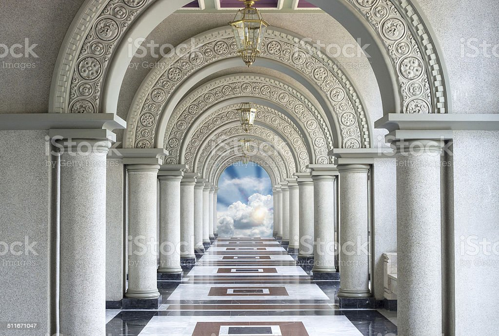 Beautiful Arched walkway with blue sky and cloun stock photo