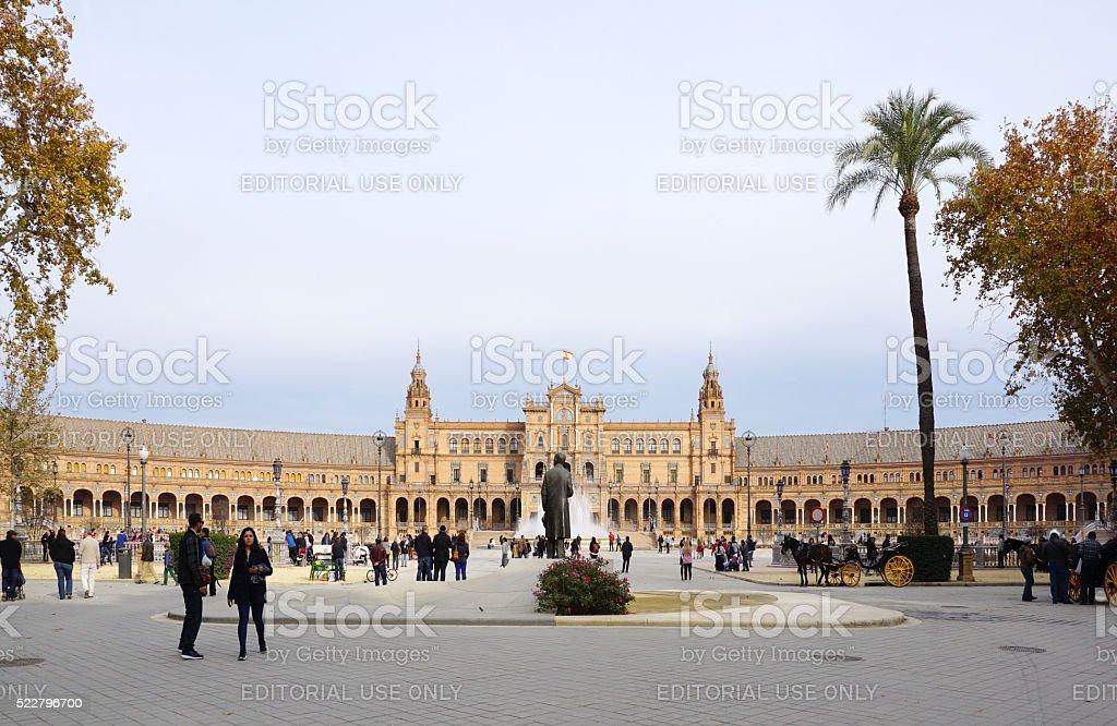 Beautiful architechture of Plaza de España building stock photo