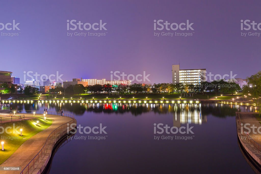 Beautiful architecture building toyama city in twilight stock photo