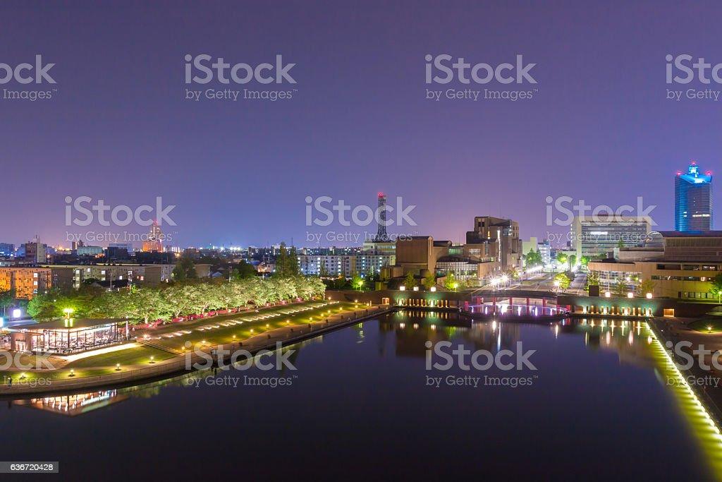 Beautiful architecture building toyama city in twilight stock photo