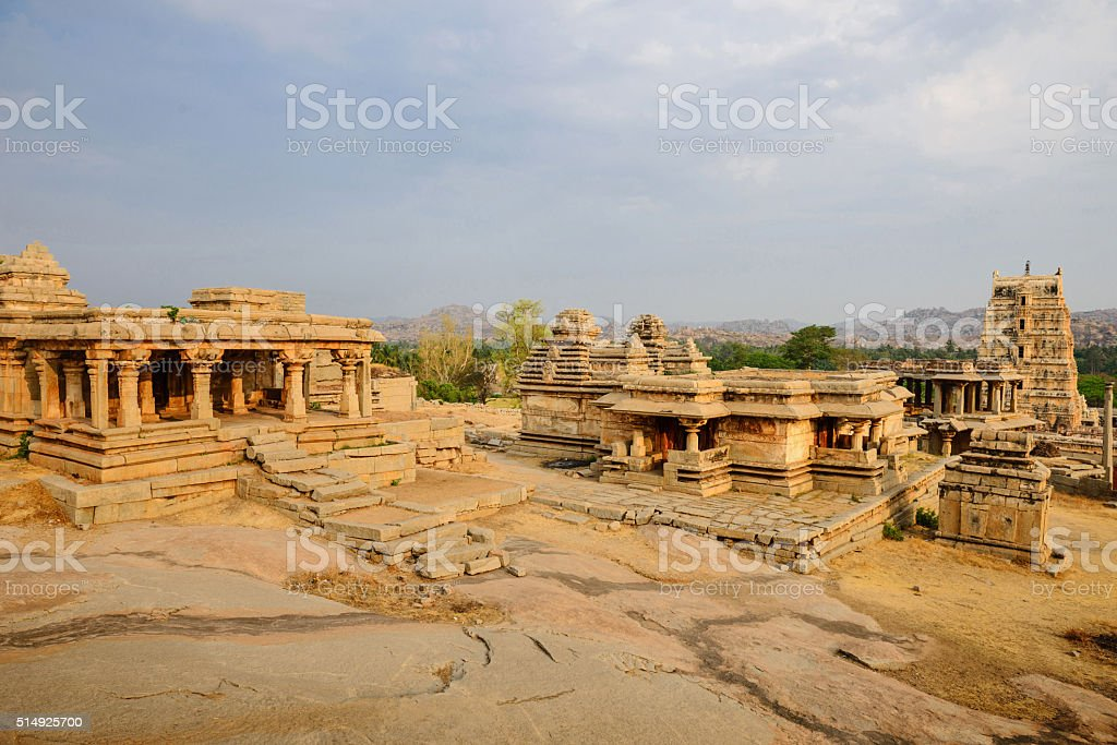 Beautiful architecture of ancient ruins of temple in Hampi stock photo