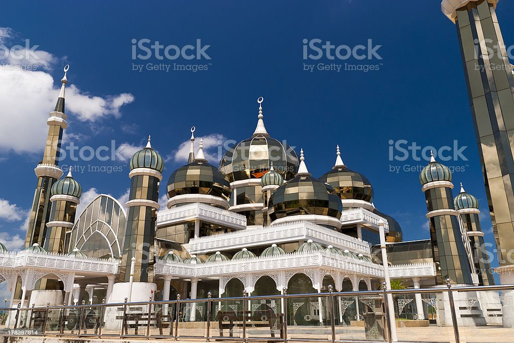 Beautiful architecture of Crystal Mosque of Terengganu stock photo