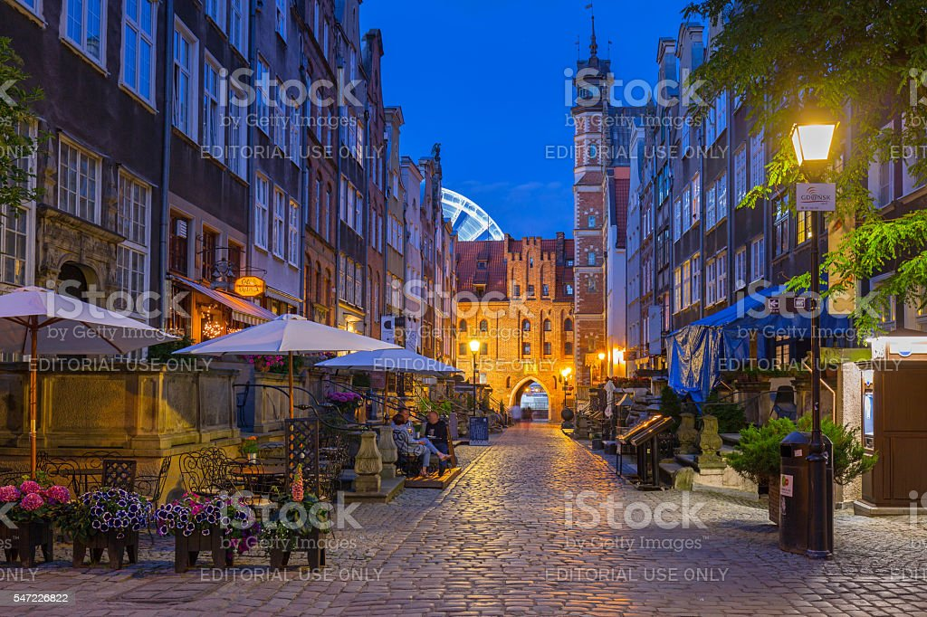 Beautiful architecture of Mariacka (St. Mary) street in Gdansk stock photo