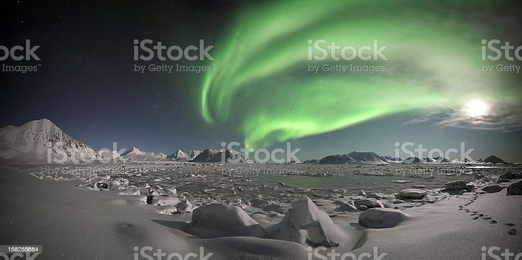Beautiful Arctic Northern Lights panorama stock photo