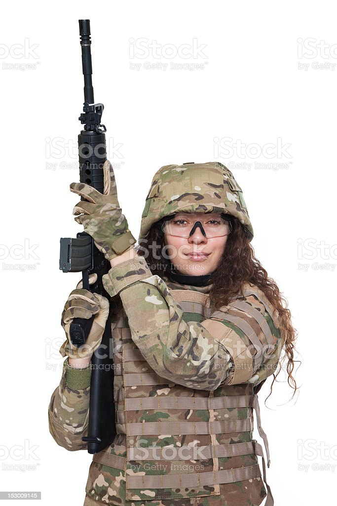 Beautiful army girl with rifle royalty-free stock photo