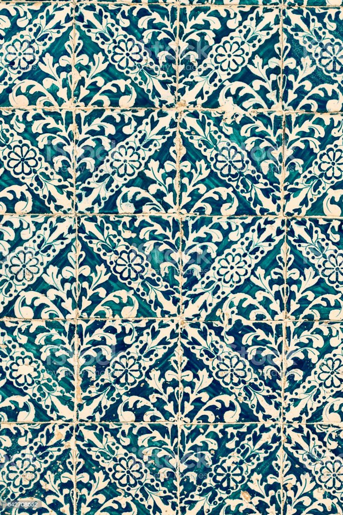 Beautiful Art Texture / Traditional ornate portuguese decorative tiles azulejos / Abstract colorful wall background. stock photo