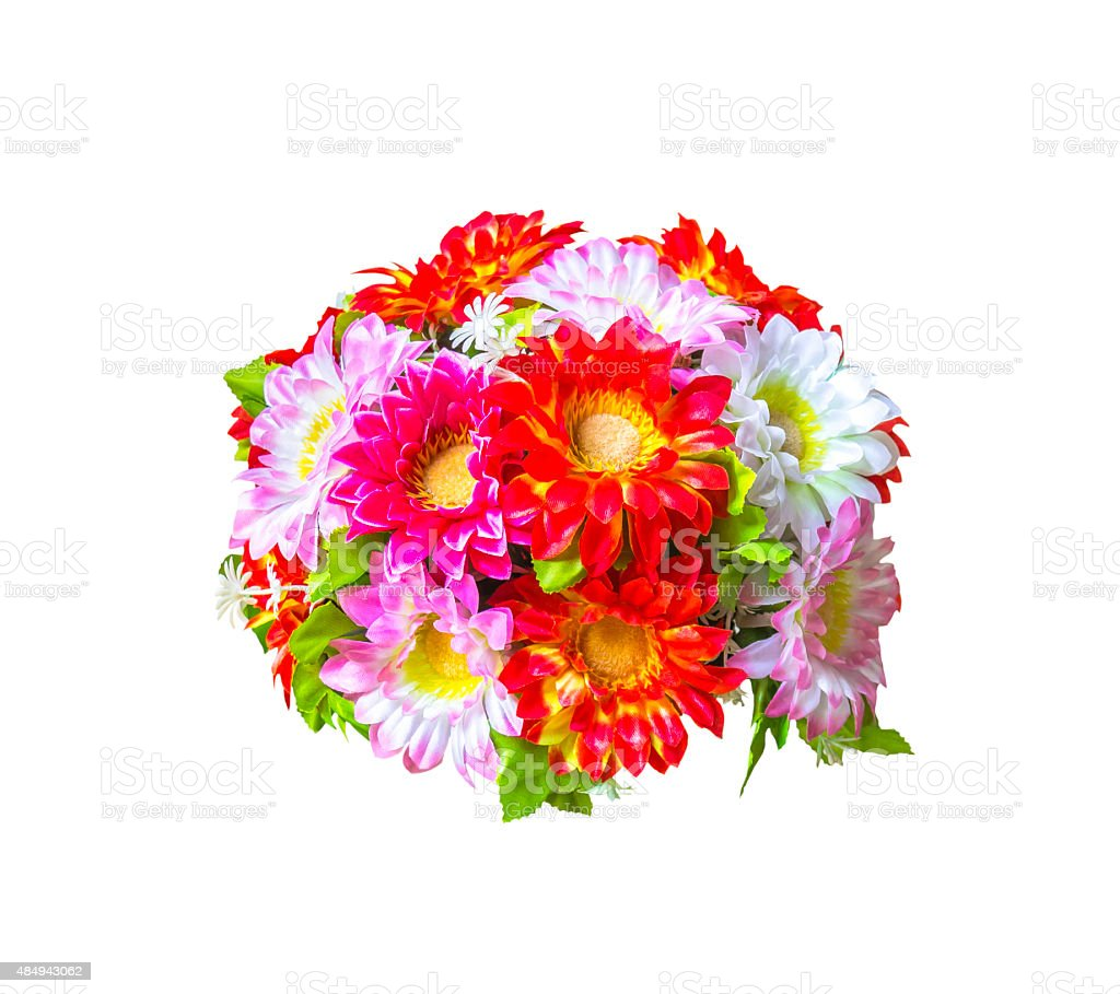 Beautiful artificial  bouguet flowers on white stock photo