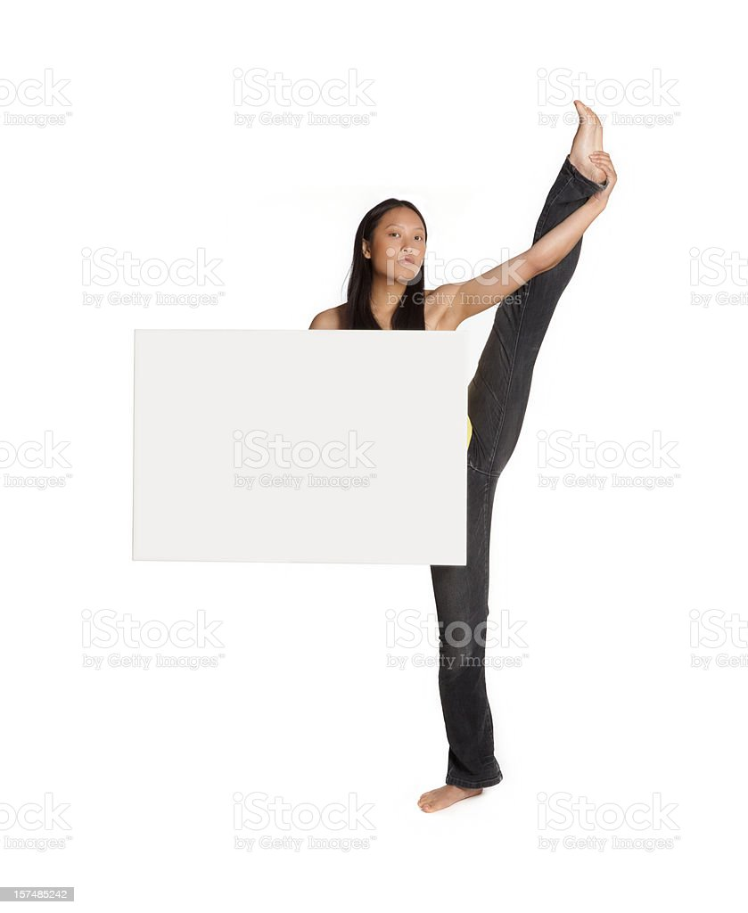 beautiful asian billboard girl doing the splits royalty-free stock photo