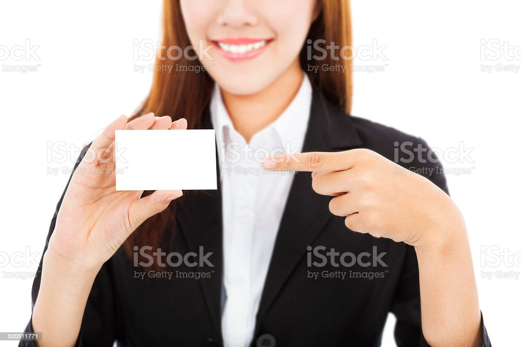 Beautiful asian business woman showing business card stock photo beautiful asian business woman showing business card royalty free stock photo colourmoves