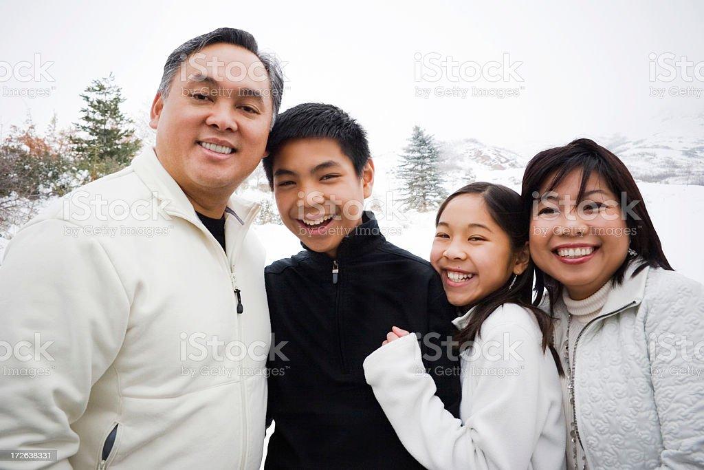 Beautiful Asian Family (Winter Portrait) stock photo