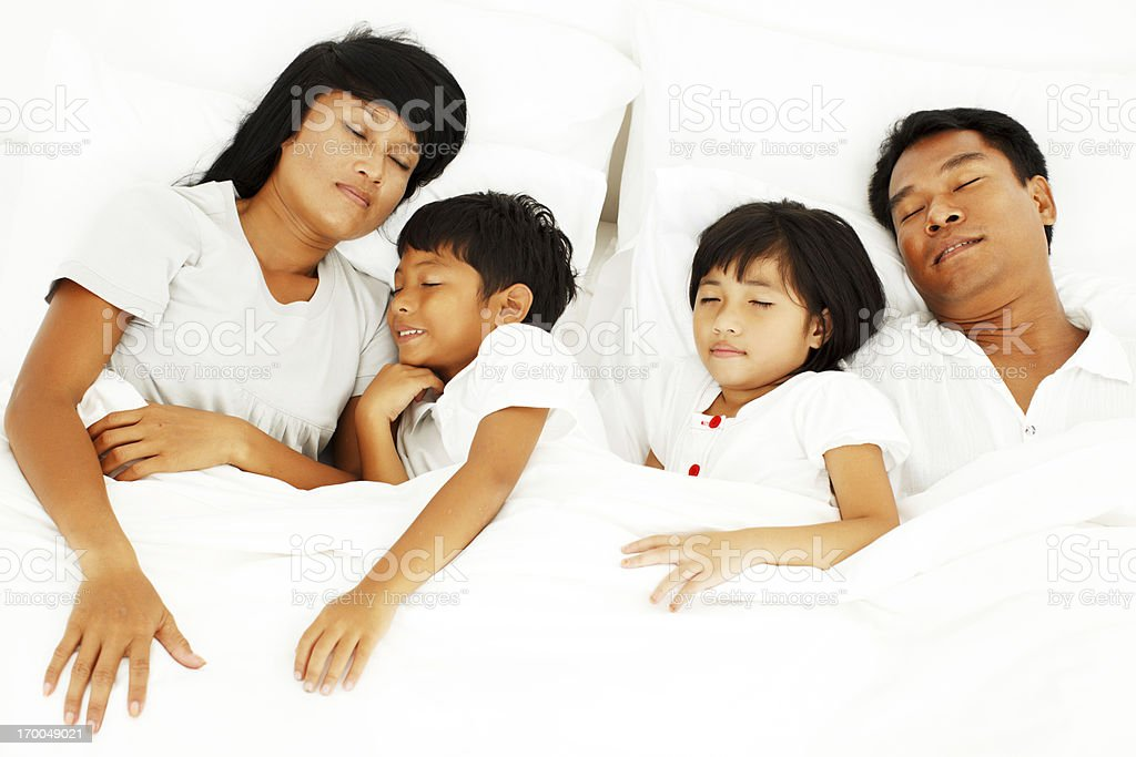 Beautiful Asian family sleeping. royalty-free stock photo