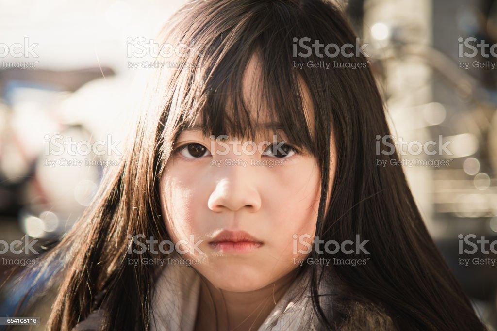 Beautiful asian girl face stock photo