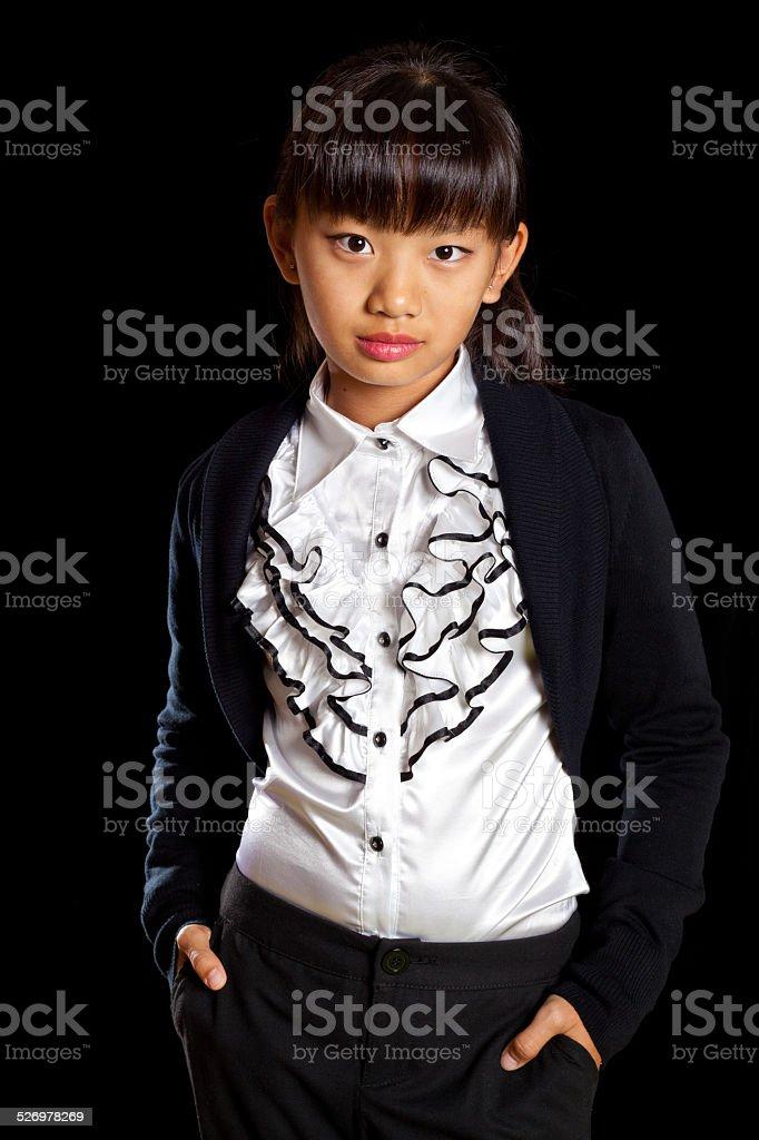 Beautiful asian girl in a beautiful white shirt stock photo