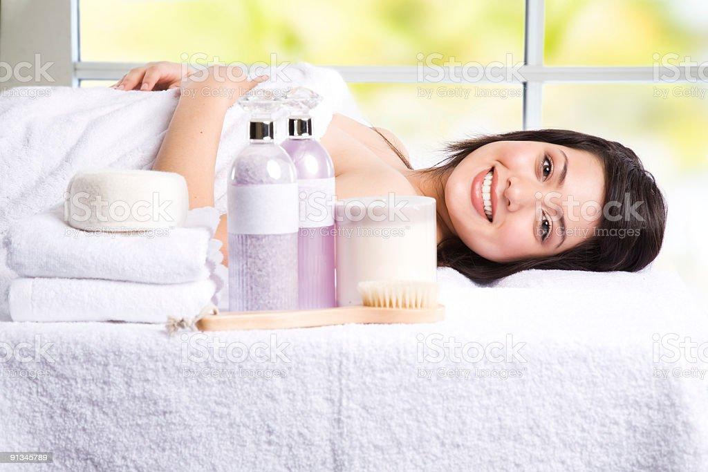 Beautiful asian girl in a spa stock photo