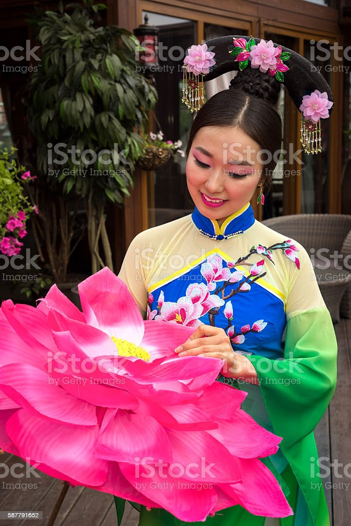 Beautiful asian girl in traditional chinese dress stock photo