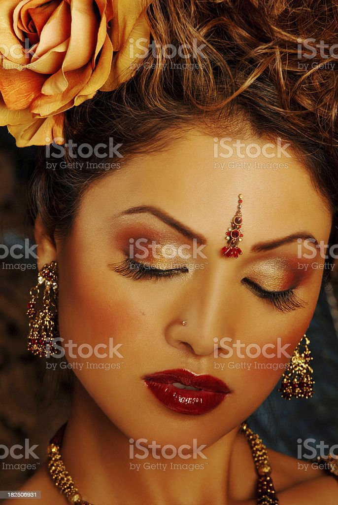 Beautiful Asian model in Traditional Indian Dress and Make-up royalty-free stock photo