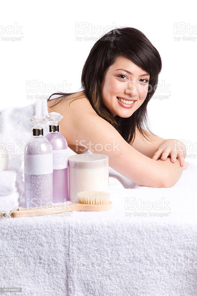 Beautiful asian spa girl royalty-free stock photo