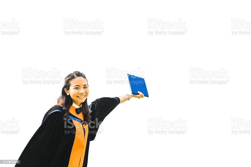 Beautiful asian university graduate student woman raising certificate stock photo