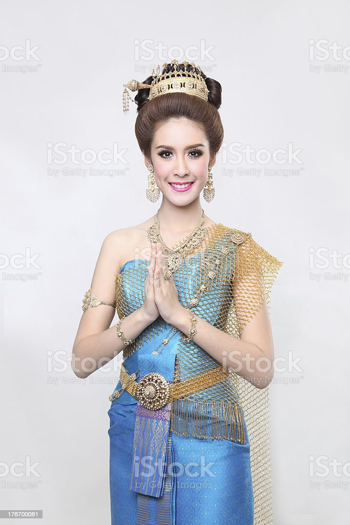 beautiful asian with welcome expression royalty-free stock photo