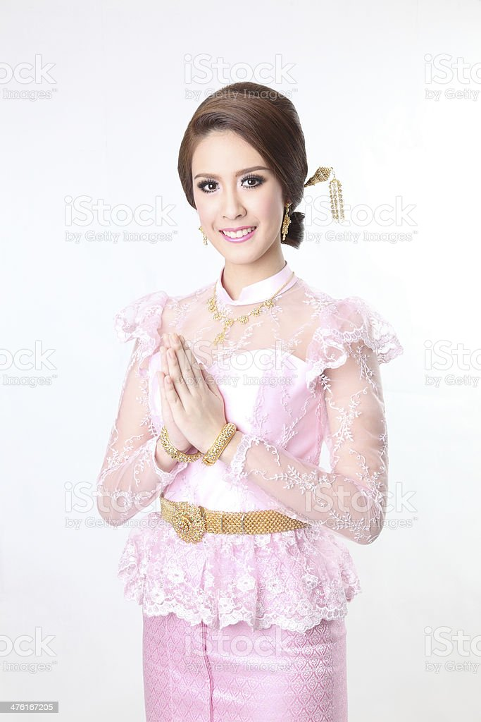 beautiful asian with welcome expression, royalty-free stock photo