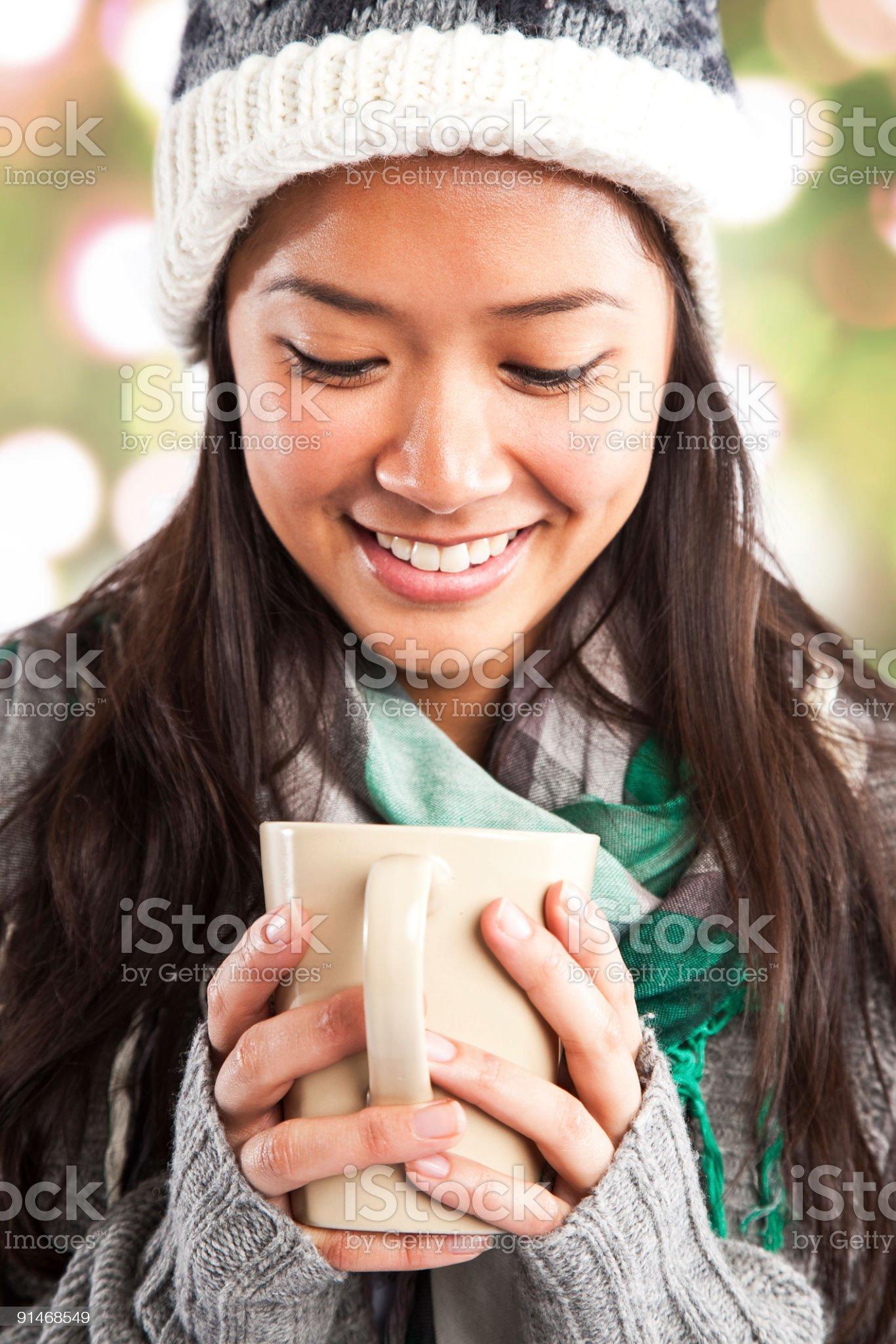 Beautiful asian woman drinking coffee royalty-free stock photo
