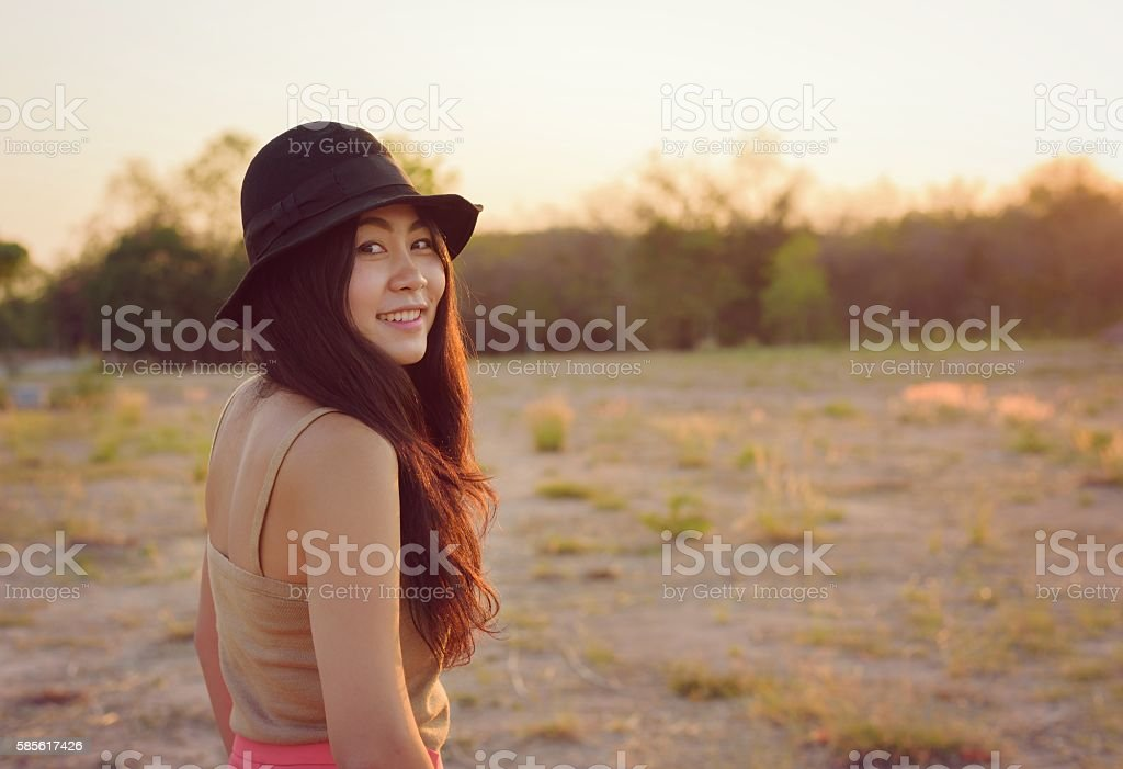 Beautiful Asian woman hipster smiley travel stock photo