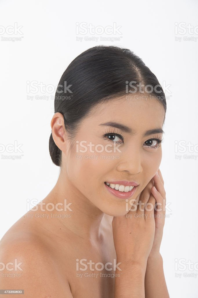 beautiful Asian woman isolated on white stock photo