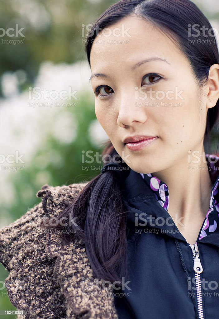 beautiful asian woman outdoor royalty-free stock photo