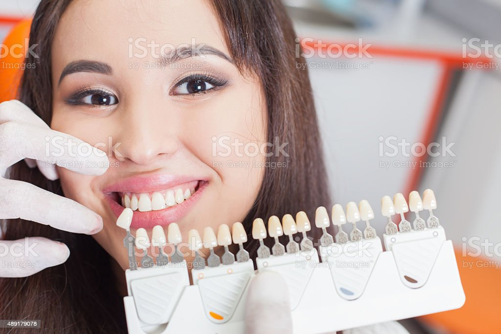Beautiful asian woman smile with healthy teeth whitening stock photo