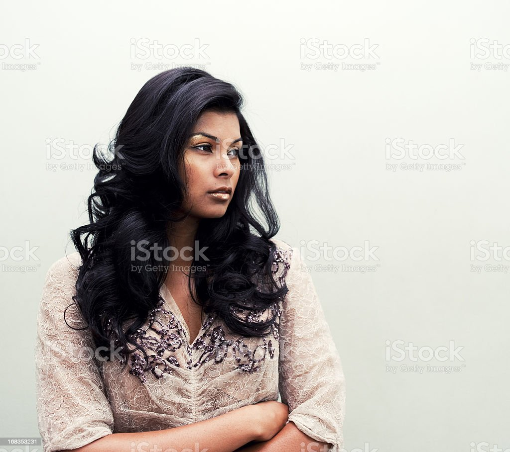 Beautiful Asian Woman, Victorian Interior stock photo