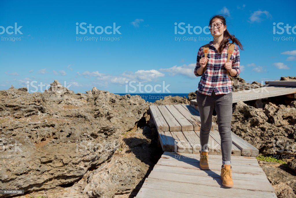 beautiful asian woman visiting national park stock photo