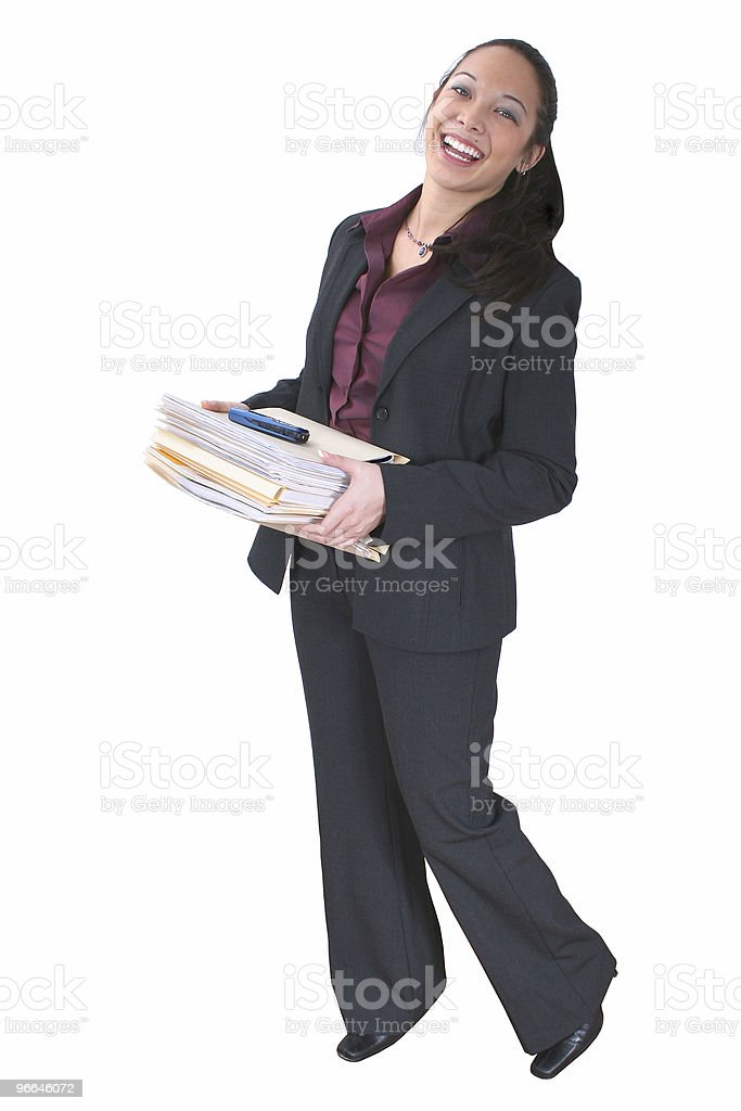Beautiful Asian Woman with Folders and Cellphone royalty-free stock photo