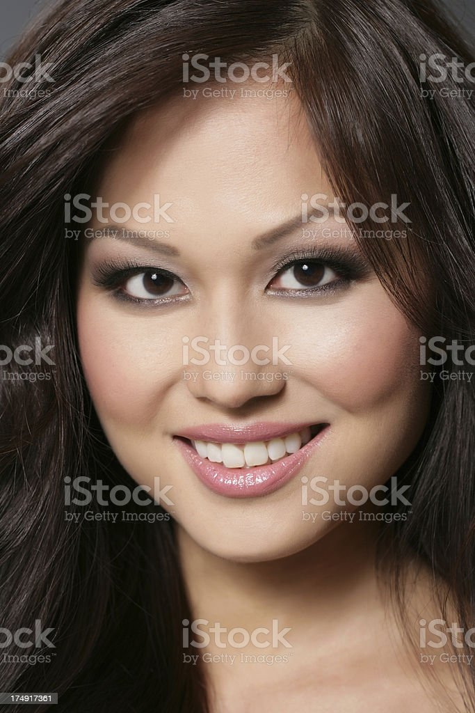 Beautiful Asian women with perfect smile stock photo