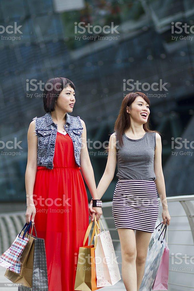 Beautiful Asian young women shopping royalty-free stock photo