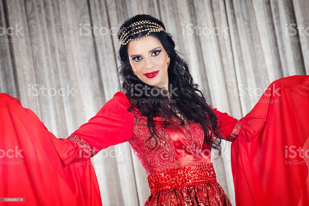Beautiful Asian/Indian Woman with Bridal Makeup and Jewelry stock photo
