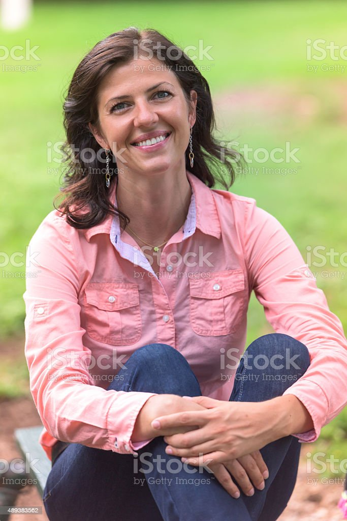 Beautiful at her forties stock photo