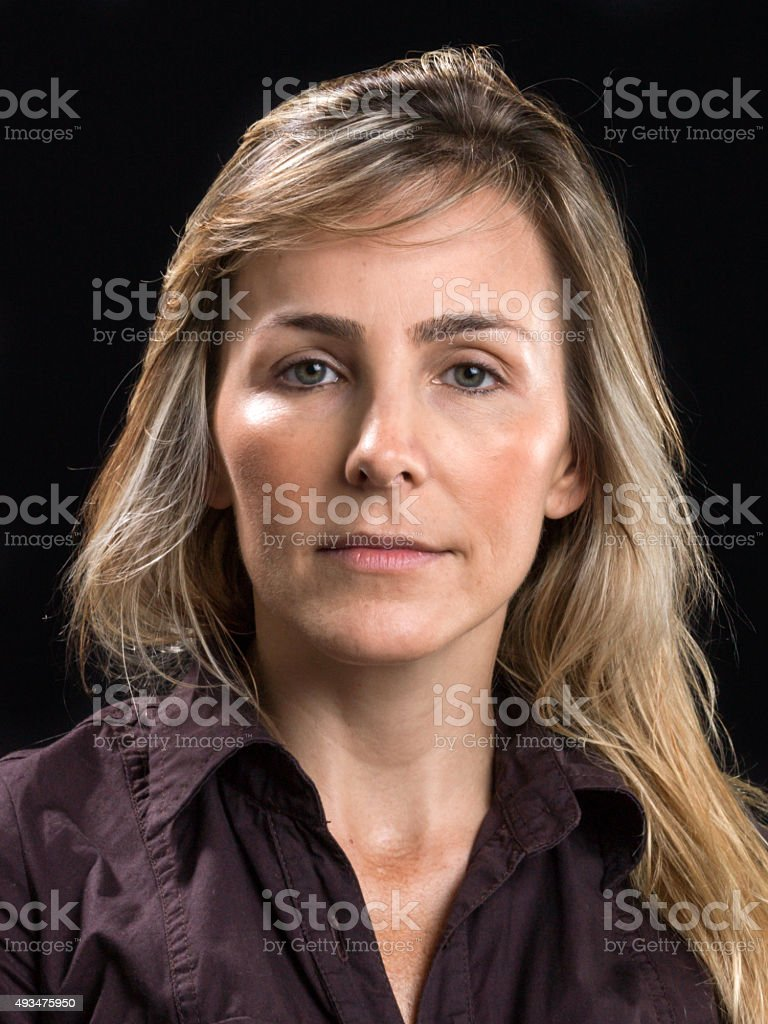 Beautiful at her forties (no make up) stock photo