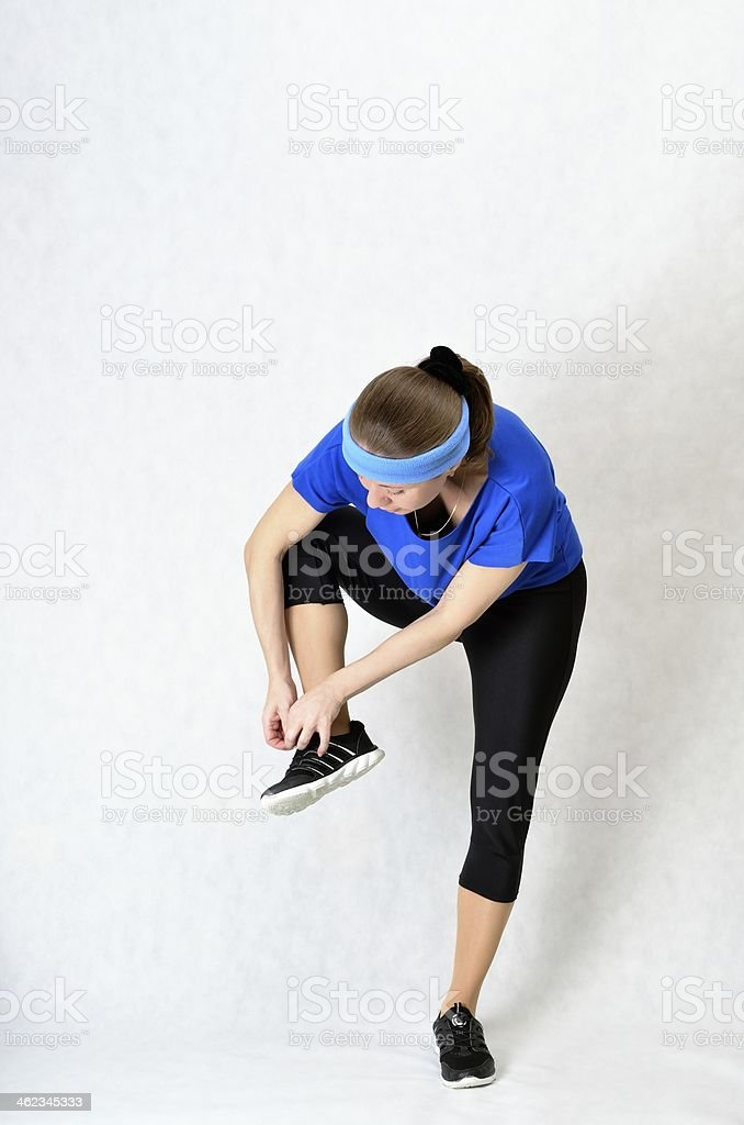 Beautiful athletic woman dress shoes stock photo