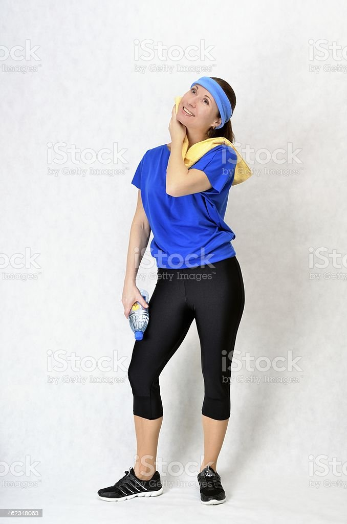 Beautiful athletic woman resting stock photo