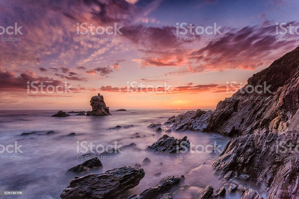 Beautiful Atlantic Beach in Portugal at Sunset stock photo