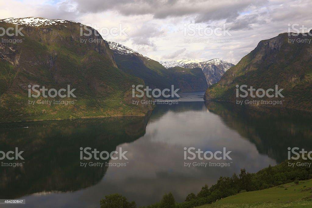 Beautiful Aurlandfjord at dawn stock photo