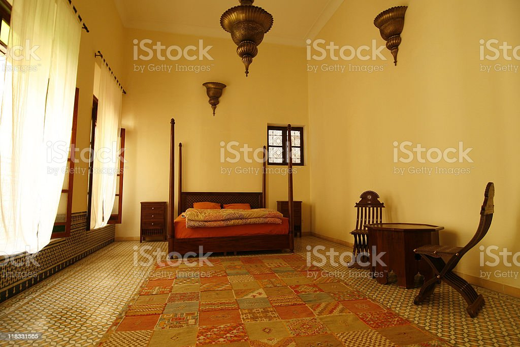 Beautiful authentic arabic bedroom (Morocco) stock photo
